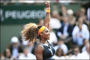 Serena Williams beat Italy's Sara Errani in the French Open semifinals, needing only 46 minutes to advance to the finals, where Maria Shara­pova awaits Saturday.