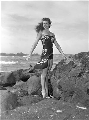 This May 1950 file publicity photo originally released by Metro-Goldwyn-Mayer shows Esther Williams on location for the film 'Pagan Love Song.'