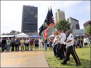 Lou Diamond Marine Corp League 272, Toledo, presents the colors at the Midwest LatinoFest at Promenade Park.