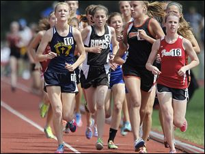 Toledo Christian's Delainey Phelps (10) won the Division III 3200-meter run with a personal best time of 10:51.68. She skipped the 1600 to concentrate solely on the 3200 in her final state track meet.