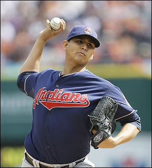 Cleveland's Carlos Carrasco struggled in his first game back in the majors since his suspension in April.
