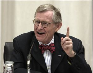 Ohio State University president Gordon Gee gives his retirement speech Friday during the board of trustees meeting in Columbus,