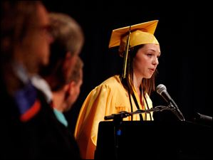 Salutatorian Molly Wheeler gives a speech.