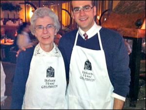 Sister Joy and Pastor Bryce Roberts lend their hands as waiters for the Bethany House fund-raising event.