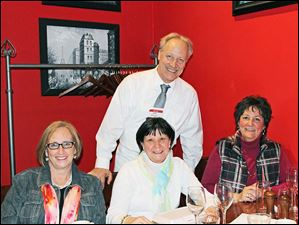 The celebrity waiter is Jeff Studer, Perrysburg Animal Control Officer.  From left, Pat Bidwell, Deb Buker and Annette Sipp at the Perrysburg Area Historic Museum, Inc. (PAHM) Celebrity Wait Night at Stella's.