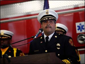 Toledo Fire Chief Luis Santiago speaks during the Toledo Fire Department memorial service.