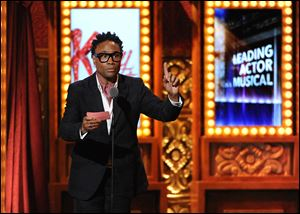 Billy Porter accepts his award for best actor in a musical in 'Kinky Boots,' clearly the big winner at the annual awards show celebrating theater.