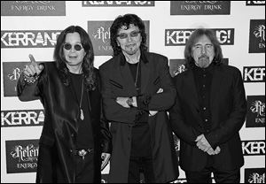 Ozzy Osbourne, Tony Iommi, and Geezer Butler of Black Sabbath attend the Kerrang! Awards in June, 2012 in London, England.