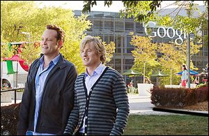 The characters played by Vince Vaughn, left, and Owen Wilson land internships at Google in Mountain View, Calif. Google  lent its brand and its campus to get more people to feel good about it.