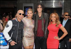 From left, Heidi Klum, Howie Mandel, Heidi Klum, Howard Stern, and  Mel B. serve as judges on NBC'S 'America's Got Talent.'
