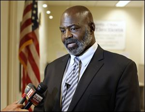 Incumbent Mayor Mike Bell sometimes relies on bullet points during interviews.
