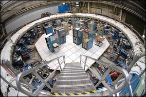 The 50-foot-wide electromagnet storage ring at Brookhaven National Laboratory in Upton, N.Y., on eastern Long Island.