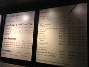 A menu board showing calorie counts hangs at a Starbucks in New York on Monday.