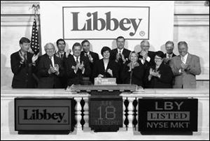 Stephane Streeter, CEO of Libbey, Inc., rings the closing bell at the New York Stock Exchange.