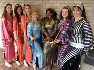 The Aegela Dance Troupe, from left: Deb Wilson-Bard of Petersburg, Mich., Tina Heebsh of Toledo, Kendra Scarlavai of Rossford, Carrie Conrad-Cannon of Sylvania, Cheryl Johnson of Holland, Sandi Anderson of Toledo, and Laura Hansen of Holland.