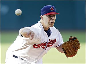 The Indians' Justin Masterson allowed nine hits over 6 1/3 innings pitched while allowing just two earned runs, striking out eight.