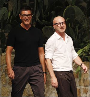 Italian fashion designers Stefano Gabbana, left, and Domenico Dolce.