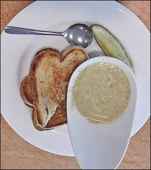Grilled cheese on sourdough bread with potato, leek, and bacon soup from the Toledo Museum Cafe.
