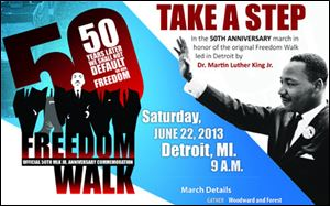 Flyer for the 50th Anniversary march in honor of the original Freedom Walk in Detroit.