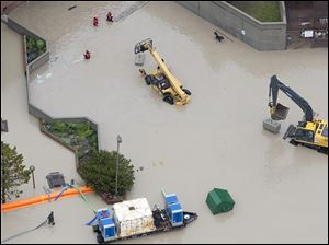 Flood waters surround the hospital  in Canmore, Alberta, Canada.