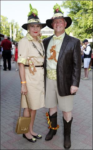 Kathleen and Douglas Andrews accessorized their outfits with an array of animals sewn into their clothing