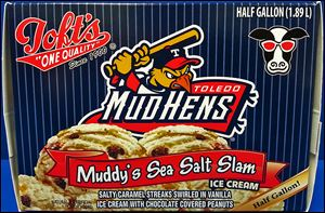 Toft's has a new flavor called Muddy's Sea Salt Slam, which has vanilla ice cream, chocolate-covered peanuts, and salted caramel. It's the first time Toft's has used the Hens' name on packaging.