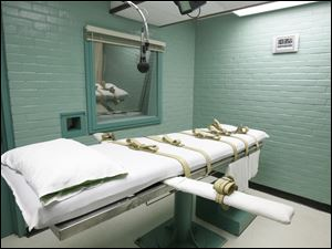 The gurney in Huntsville, Texas, where Texas' condemned are strapped down to receive a lethal dose of drugs. The first execution by lethal injection in Texas occurred in 1982. Since then the state has executed 499 prisoners.
