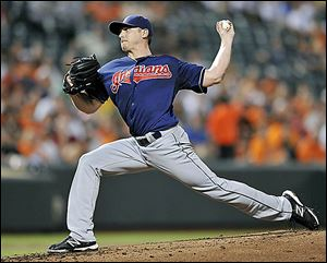 Cleveland pitcher Scott Kazmir took a no-hitter into the seventh, but left the mound in the eighth inning with an apparent injury.
