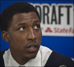 Georgia's Kentavious Caldwell-Pope speaks during a press availability for NBA basketball draft prospects.