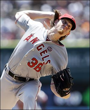 Los Angeles Angels pitcher Jered Weaver throws against the Detroit Tigers in the first inning of a baseball game in Detroit today.