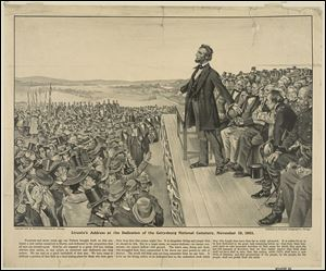 A lithograph shows President Abraham Lincoln speaking at the dedication of the national cemetery at Gettysburg in November, 1863. During that speech, known as the Gettysburg Address, he dedicated the nation to a new birth of freedom.'