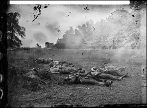 Library of Congress Confederate dead at Rose Woods in Gettysburg, PA Photograph attributed to Alexander Gardner July 5, 1863.  BLADE