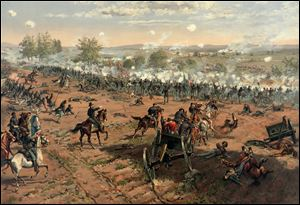 A painting by Thure de Thulstrup titled 'Hancock at Gettysburg' shows  Gen.Winfield Scott Hancock leading his troops on Cemetery Ridge during Pickett's Charge.