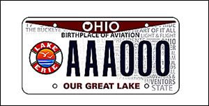 A new Lake Erie license plate design will be available Monday from the Ohio Bureau of Motor Vehicles. The novelty license plate costs an additional $25, with $15 of that going to research and conservation projects.