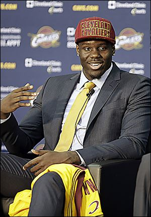 Anthony Bennett, who was the top pick in Thursday's draft, meets the meet at the Cavaliers' headquarters in Independence, Ohio.