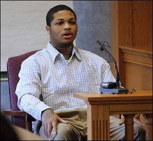 James Moore testifies during the trial of Keshawn Jennings and Antwaine Jones. All three were charged in the shooting death of  Keondra Hooks, 1, at the Moody Manor apartments in Toledo. Moore negotiated a plea deal in exchange for testifying against Jennings and Jones.