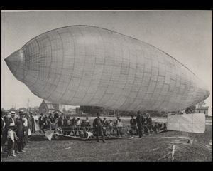 Knabenshue Dirigible: In this airship A. Roy Knabenshue, Toledo aviation pioneer and son of Blade editor S.S. Knabensue, flew from the fair grounds at Dorr and Upton  to the top of the Spitzer Building on June 30, 1905.
