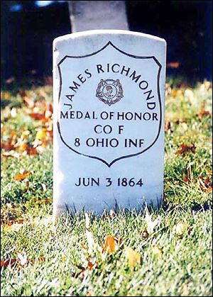 Union Pvt. James Richmond, who lived in Toledo when he joined the Army, received the Medal of Honor for his actions during the Battle of Gettysburg. He died 11 months later.