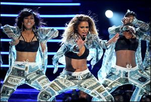 Ciara performs onstage at the BET Awards at the Nokia Theatre on Sunday in Los Angeles.