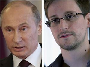 Russia's President Vladimir Putin, left, says that National Security Agency contractor Edward Snowden, right, will have to stop leaking U.S. secrets if he wants to get asylum in Russia.