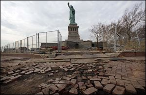 Parts of the brick walkway of Liberty Island that were damaged in Superstorm Sandy are shown in this November, 2012 photo.