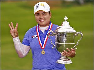 Inbee Park, of South Korea celebrates her victory at the U.S. Women's Open at the Sebonack Golf Club in Southampton, N.Y. Park has won the first three major tournaments this year.