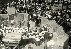 Some 5,000 Masons dedicated the Perry monument cornerstone during a July 4, 1913, ceremony.