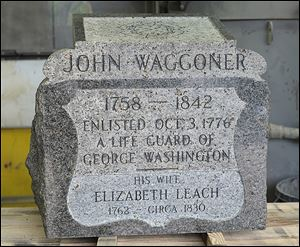 The renovated headstone of John Waggoner will be dedicated today at Four Mile House Cemetery outside Fremont. The name of Mr. Waggoner's wife has been corrected on the stone.