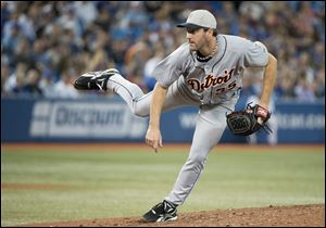 Detroit Tigers staring pitcher Justin Verlander works against the Toronto Blue Jays during seventh-inning.