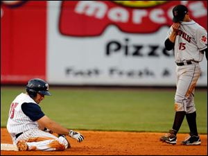 Mud Hens third baseman Mike Cervenak steals second base against Indianapolis' Ivan DeJesus (15) during the sixth inning.