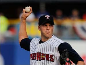 Mud Hens pitcher Shawn Hill throws against Indianapolis.