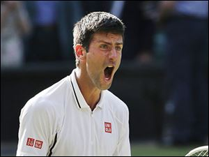 Novak Djokovic reacts after defeating Juan Martin Del Potro in their semifinal match on Friday at Wimbledon.