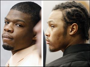 Antwaine Jones, left, and Keshawn Jennings, right, were convicted of aggravated murder, murder, improperly discharging a firearm into a habitation, attempted murder, and four counts of felonious assault, each with gun specifications.