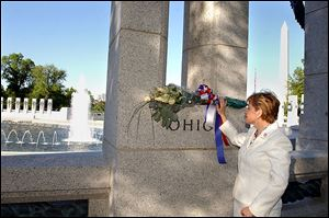 U.S. Rep. Marcy Kaptur visits the World War ll Memorial in Washington on April 28, 2004, the day before it was dedicated. Today, Miss Kaptur still considers the site a work in progress.